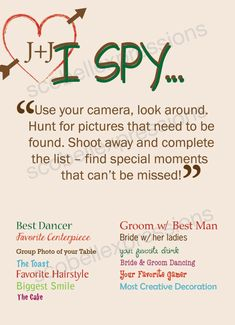 I Spy Wedding Game Card by ScobellExpressions on Etsy. Great idea for guests to use disposable cameras as a keepsake. And to occupy their time between wedding and reception. Or while the wedding party is taking photos