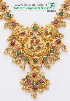 Check out the deal on Gold Ruby Necklace & Drop Earrings set at Totaram Jewelers: Buy Indian Gold jewelry & Diamond jewelry Gold Ring Designs, Gold Jewellery Design, Gold Ruby Necklace, Drop Earrings, Necklace Set, Beaded Jewelry, Gold Jewelry, Jewelery, India Jewelry