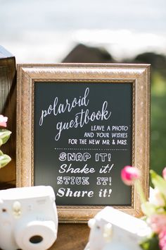 "Polaroid Guest Book Sign - something similar to this but maybe on a platform so its visible. Also might want it with a white background and gold writing to match the "".hunt is over sign"" Wedding Book, Diy Wedding, Rustic Wedding, Dream Wedding, Fall Wedding, Wedding Ideas, Wedding Souvenir, Polaroid Wedding Guest Book, Wedding Favors"