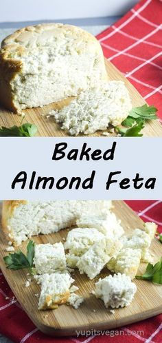 Baked Almond Feta Yup, it's Vegan. Creamy, salty, savory, slightly tangy feta-style vegan (and paleo) cheese made from almonds! Vegan Cheese Recipes, Vegan Foods, Vegan Dishes, Dairy Free Recipes, Vegan Feta Cheese, Gluten Free, Almond Cheese Recipe, Cheese Fruit, Vegan Yogurt