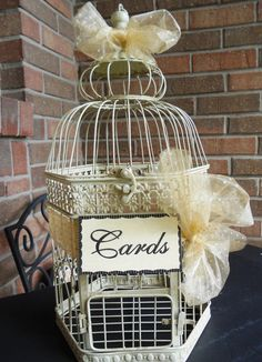 Hey, I found this really awesome Etsy listing at https://www.etsy.com/listing/202574403/antique-cream-bird-cage-wedding-card