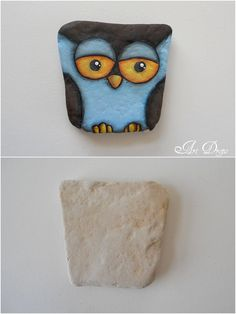 Art Drops: ROCK ME OWL... A great example of what to paint on that odd shaped stone!!