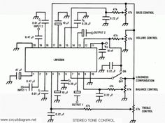 The is a DC controlled tone (bass/treble), volume and balance circuit for stereo applications in car radio, TV and audio systems. Valve Amplifier, Audio Amplifier, Diy Electronics, Electronics Projects, Radios, Bass, Electronic Engineering, Electronic Circuit, Computer Engineering