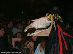 "Golowan festival. Old Penglaz is one example of the hobby horse (or 'obby oss) that appears in many of Britain's regional celebrations that dates back to more pagan times. On Mazey Eve, Penglaz helps celebrate the Mazey Day ritual in Penzance, Cornwall. Photo from ""Purely Penzance,"" Mazey 2008. http://www.flickr.com/photos/29152220@N05/2726352104/ Another good website: http://www.cornishwitchcraft.co.uk/images-penglaz.html"