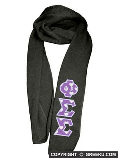 Phi Sigma Sigma Knit Scarf with Premium Fabric Letters