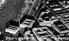Intramuros including Aduana building and the University of Santo Tomas. University Of Santo Tomas, Intramuros, Manila, Philippines, History, Building, Vintage, Santos, Domingo