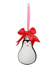 Glitter Bulb Penguin Ornament