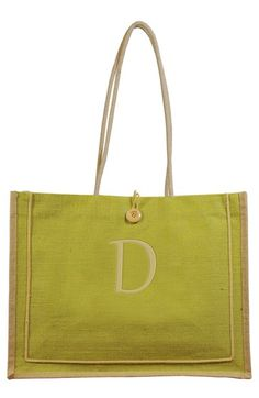 Women's Cathy's Concepts 'Newport' Personalized Jute Tote - Green