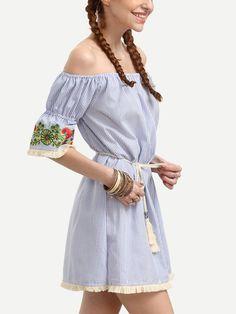 ORMELL Women Sexy Off Shoulder Dresses Floral Embroidery Ruffle Slash Neck Ties Vintage Dress Ladies Autumn Casual Mini Vestidos #Womensfashion #Streetstyle
