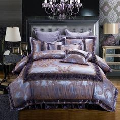 Introducing Our 6 Piece Over-Sized Luxury Queen and Full size Jacquard Bedding Sets Purple Bedding Sets, Cotton Bedding Sets, Queen Bedding Sets, Luxury Bedding Sets, Comforter Sets, Gray Comforter, Lavender Comforter, Modern Bedding, Cheap Bed Sheets