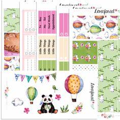 pastel watercolor PANDA planner sticker kit  for erin condren planner stickers erin condren  happy planner sticker happy planner kit SK002