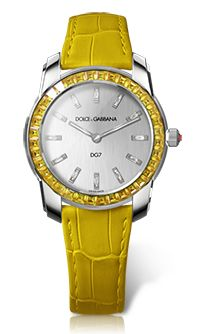 Women's Watch - White Gold with Yellow Sapphires - DG Watches Dolce Gabbana Watches for Men and Women High End Watches, Cool Watches, Watches For Men, Women's Watches, Diamond Watches, Cheap Watches, Stylish Watches, Dolce And Gabbana Watches, G Watch