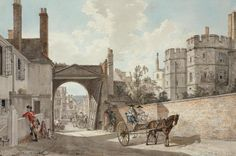 The Town Gate looking westwards down Castle Hill, Windsor, c.1765 (Sandby)