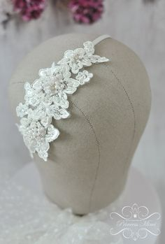 Braut Headpiece Spitze Haarreif Kopfschmuck von MimiPrincess