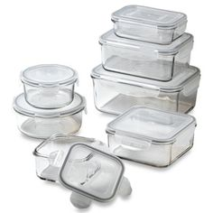 Store N' Lock Storage Containers - BedBathandBeyond.com. Any glass, stackable, freezer, microwave, and dishwasher safe containers in a variety of sizes will do. Square is preferable.