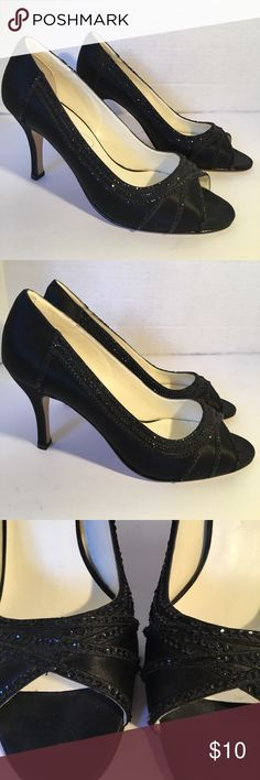 "Michaelangelo Stunning High Heels Stunning black satin with sparkle embellishments. Very classy shoes in great condition. Leather soles and very little wear. 2"" heels. IF YOU PURCHASE MORE THEN 1 ITEM, YOU CAN ONLY BUNDLE UP TO 3 ITEMS PER ORDER OR IT WILL BE CANCELED Michaelangelo Shoes Heels"