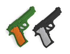 Pistol Erasers, Green & Black. by PencilThings. $1.99. Black and Green Pistol erasers.. Each measures about 2.5 x 1.5.. PVC Free, Latex Free.
