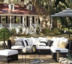 Black & white outdoor patio from Pottery Barn