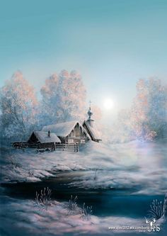 Landscape Drawings, Watercolor Landscape, Landscape Art, Landscape Paintings, Beautiful Paintings Of Nature, Nature Paintings, Beautiful Landscapes, Winter Scene Paintings, Winter Painting