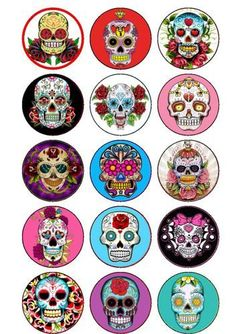 15 Day of The Dead Sugar Skulls Cake/Cupcake Rice Paper Toppers Bottle Cap Projects, Bottle Cap Crafts, Bottle Cap Art, Bottle Cap Images, Sugar Skull Cakes, Sugar Skulls, Tatoo Crane, Day Of The Dead Party, Mexican Holiday