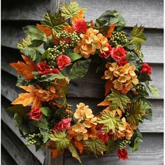 - This Beautiful Fall Wreath with Apricot Hydrangeas, Green Apple Berries and mixture of foliage's is a Weather Resistant Wreath that can be used Indoors or Outdoors - Sturdy Built Wreath on Grape Autumn Wreaths, Holiday Wreaths, Fall Door Wreaths, Diy Wreath, Wreath Ideas, Summer Wreath, Thanksgiving Decorations, How To Make Wreaths, Fall Crafts