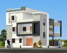 Elevation House Outer Design, House Front Design, Modern House Design, Duplex House Plans, Modern House Plans, House Floor Plans, House Elevation, Building Elevation, Front Elevation