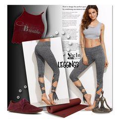 """SHEIN Grey Tie Leggings"" by wanda-india-acosta ❤ liked on Polyvore featuring Manduka, Boohoo, sanuk and Pier 1 Imports"