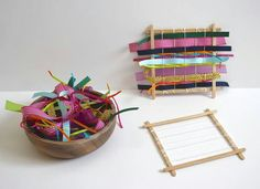 Popsicle stick weaving looms