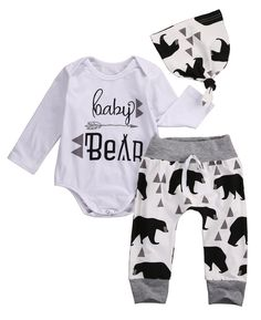 c88c9b76178 3PCS Autumn Spring Newborn Baby Boys Girls Bear Long Sleeve Letter Tops  Romper+Bear Pants Hat Outfits Set Christmas Clothes