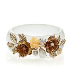 Crystal Resin Embellished Floral Bangle