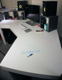 A how-to for building a big corner desk, covered in whiteboard paint. It's also got storage underneath and a SECRET COMPARTMENT!!