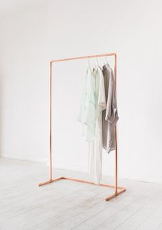 Minimal Copper Pipe Clothing Rail / Garment Rack / Clothes Storage