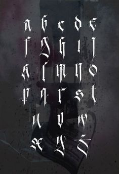 : I am proud to present my personal Gothic alphabet. I am proud to present my personal Gothic alphabet. It is based on fracture. Many glyphs are transfo alphabet classichomedecor fallhomedecor gothic gothichomedecor hippiehomedecor personal pres Gotisches Alphabet, Gothic Alphabet, Tattoo Fonts Alphabet, Tattoo Lettering Fonts, Graffiti Alphabet, Lettering Styles, Lettering Design, Hand Lettering, Tattoo Font Script