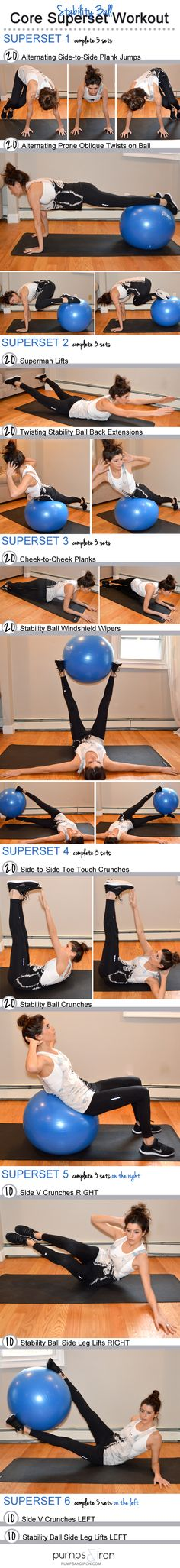 Ball Superset Core Workout Stability Ball Superset Core Workout started sweating just reading this!Stability Ball Superset Core Workout started sweating just reading this! Fitness Workouts, Sport Fitness, At Home Workouts, Fitness Motivation, Ball Workouts, Core Workouts, Core Exercises, Workout Exercises, Workout Ideas