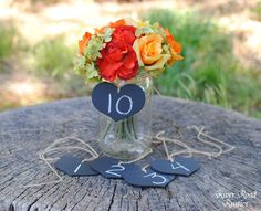 Rustic  Wedding Decorations-Chalkboard  Hearts with Twine (set of 10) - for centerpieces, table numbers, candy bar & place cards. $22.00, via Etsy.