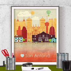 printable poster poster city San Antonio Texas San Antonio skyline San Antonio poster San Antonio print San Antonio art Texas printable by GreenGreenDreams