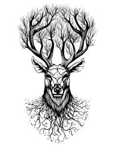 WYUEN Deer Temporary Tattoo Sticker Tree Tattoos for Women Fashion Sexy Body Art Waterproof Hand Fake Tatoo Kunst Tattoos, Body Art Tattoos, Sleeve Tattoos, Tatoos, Fox Tattoos, Hand Tattoos, Animals Tattoo, Animal Tattoos For Men, Tattoos For Guys