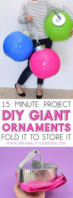 DIY Giant Christmas Ornaments How cool are these DIY giant ornaments? They're simple to make and they fold in on themselves so you can easily store them from year to year! The post DIY Giant Christmas Ornaments appeared first on DIY Crafts. Large Christmas Ornaments, Outside Christmas Decorations, Christmas Yard, Christmas Balls, Christmas Projects, Christmas Holidays, Ball Decorations, Christmas Vacation, Christmas Fabric