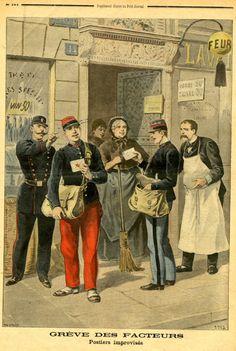 Grève des facteurs Postiers improvisés Michel V.1899   © L'Adresse Musée de La Poste / La Poste, DR.