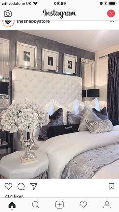 Love the wallpaper color and texture luxury bedroom design, master bedroom design, bedroom inspo Glam Bedroom, Cozy Bedroom, Home Decor Bedroom, Modern Bedroom, Bedroom Ideas, Silver Bedroom Decor, Contemporary Bedroom, Bedroom Furniture, Bedroom Headboards
