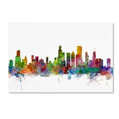 This ready to hang, gallery wrapped art piece features a colorful watercolor skyline of Chicago, Illinois. Art and design were always Michael's favorite subjects at school. He was fortunate to land a