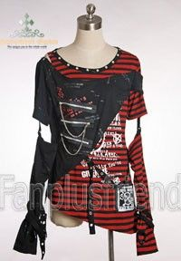 Gothic Cyber Punk Detached Sleeves Stripe...