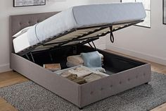 Want more storage, more space and more style all in one? Our Cambridge bed with gas lift storage does all the heavy lifting for you! Enjoy tons of extra storage with a powerful hydraulic mechanism that raises up your mattress giving you easy access to storage underneath. Plus, the headboard and footboard feature a stylish tuft design in both faux black leather or grey linen.
