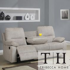 Tribecca Home Corbridge Light Beige Chenille Double Recliner Sofa | Overstock.com Shopping - The Best Deals on Sofas & Loveseats