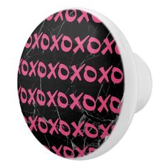 Cute girly hot pink black marble xoxo hugs kisses ceramic knob - girly gift gifts ideas cyo diy special unique