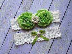 Apple Green Garters, Green Garter Set, Garter Bridal, Custom Garters, Wedding Garter Belt, Ivory Lace Garters, Green Wedding, Garter on Etsy, $20.00