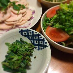 蕨の山椒おひたし クレソンのサラダ メカブ豆腐あえ 鳥ハム