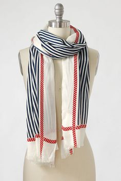 Women's Rope Border Nautical Scarf from Lands' End
