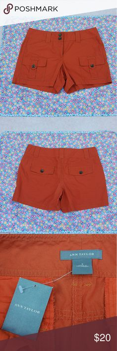 """NWOT Ann Taylor Cargo shorts Ann Taylor Womens Sz 6 Burnt Orange Cotton Flat Front Cargo Short Pants NWOT Length:13"""" waist:16"""" Inseam:4"""" Nwot with no flaws. Please see photos for exact details. Thank you for patronizing us. Ann Taylor Shorts Cargos"""
