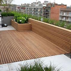 Patio boards Afrormosia - Terrasse Design - Shelves in Bedroom Rooftop Terrace Design, Rooftop Garden, Balcony Garden, Terrace Ideas, Terrasse Design, Balkon Design, Shade House, Garden Architecture, Architecture Design